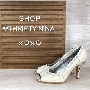 Apepazza white leather and snake skin heels